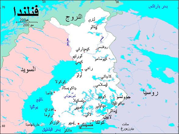 خريطة فنلندا